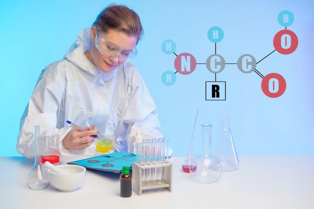 женщина лаборант и формула аминокислот